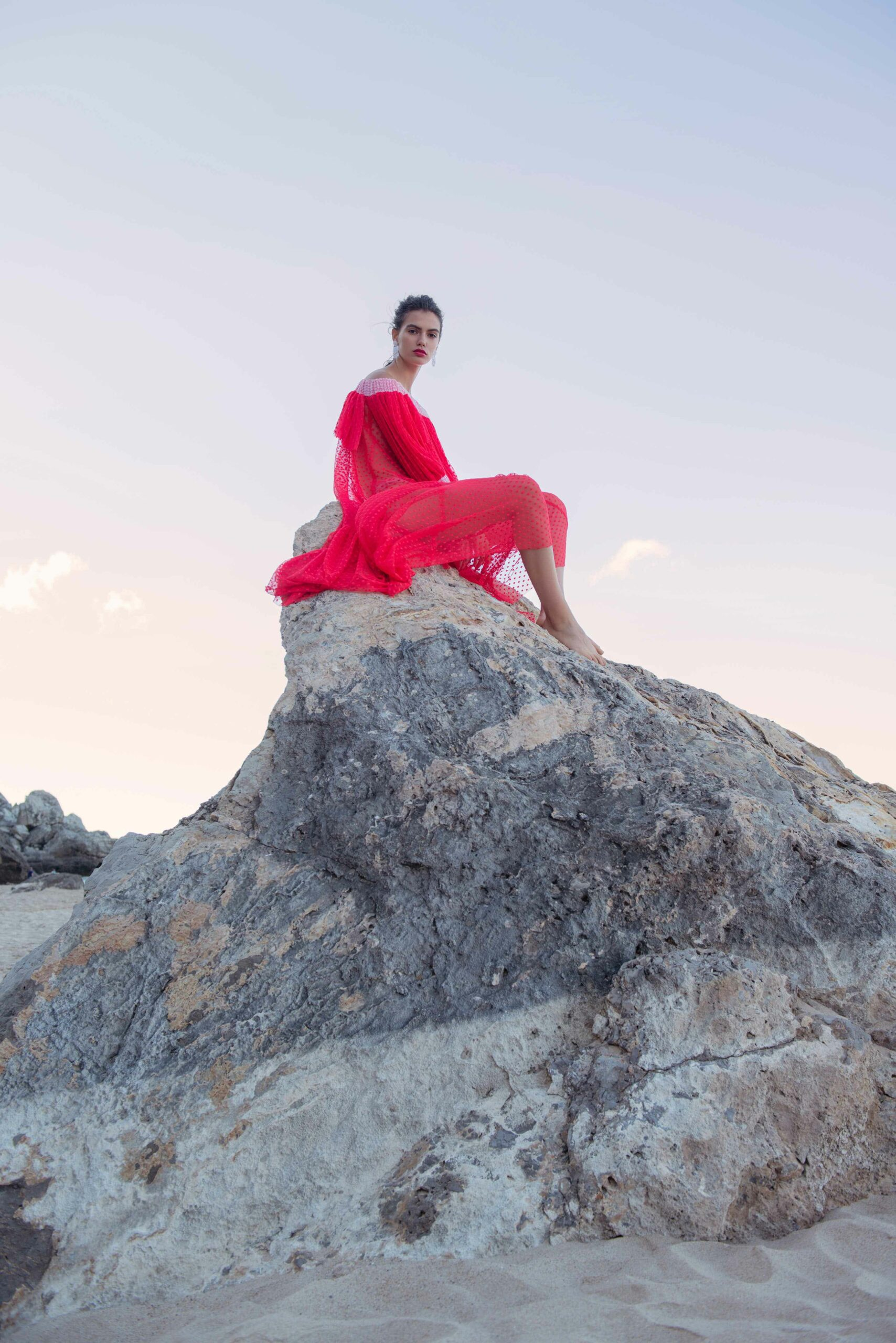 fashion photography london- women in red dress