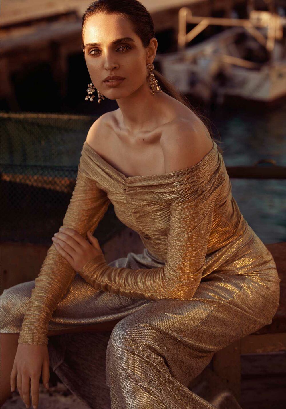 fashion photography london- luxury-women in gold dress sunset